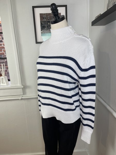 Pre-loved  360Sweater Striped Button Sweater - cream/navy