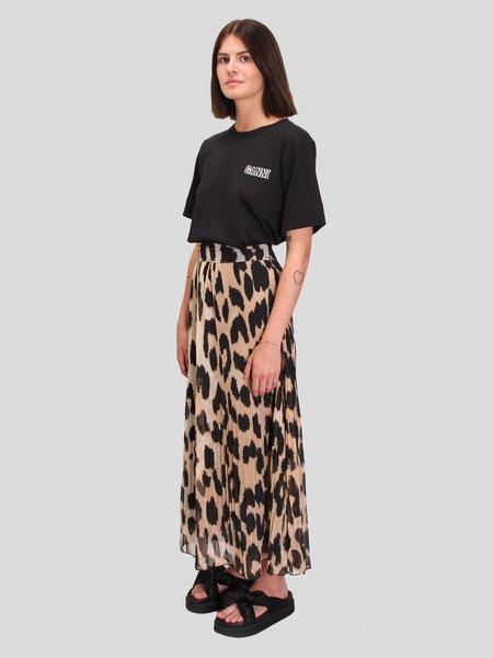 Ganni Pleated Georgette Skirt - Leopard Maxi