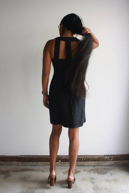 Vintage Cutout Back Linen Dress