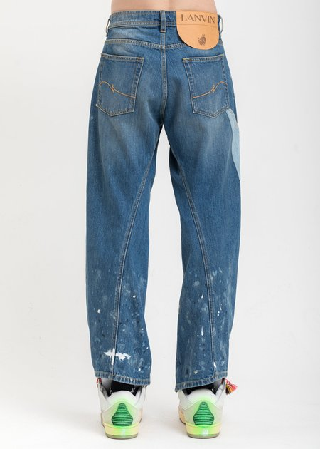 LANVIN Multi Washed With Paint Marks Denim Jeans - Blue