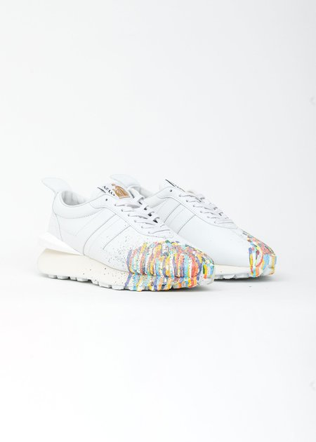 LANVIN Painted Leather Nappa Bumpr Sneaker - White