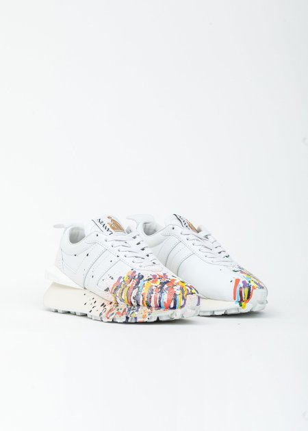 LANVIN Painted Leather Nappa Bumpr Sneaker- White