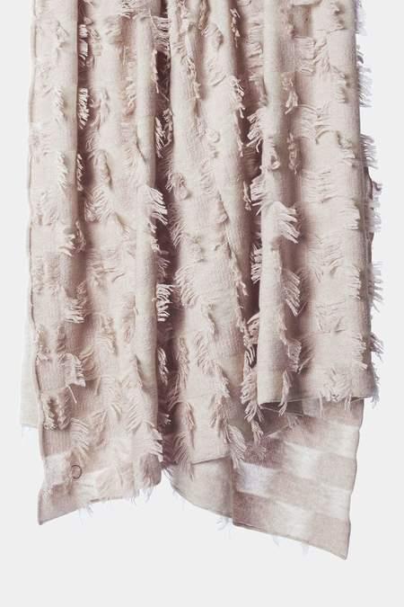 Oyuna Seren Knitted Hand Cut Fringed Cashmere Throw - Beige