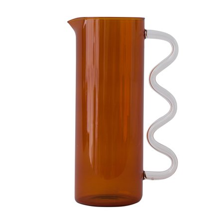 Sophie Lou Jacobsen Wave Pitcher - Amber/Clear