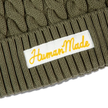Human Made Cotton Cable Beanie - Olive Drab