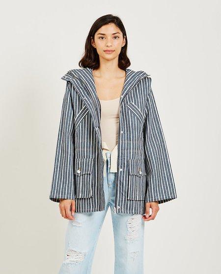 Ganni Mixed Stripe Denim Jacket - Indigo/White