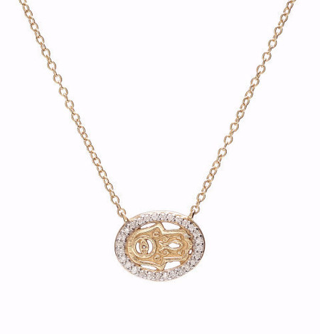 Oliver Kelly 114 Mini Hamsa + Eye Gold Diamond