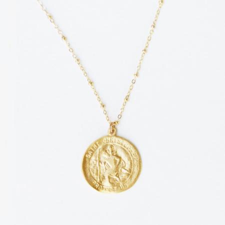 Gem & Blue St. Christopher Protection Medallion - Gold