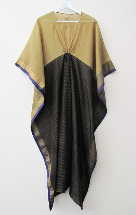 Two New York caramel and black silk and cotton caftan