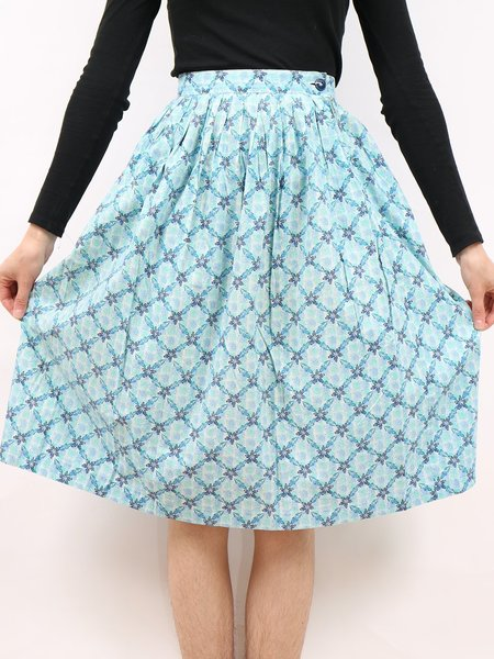 Vintage pattern party skirt - blue