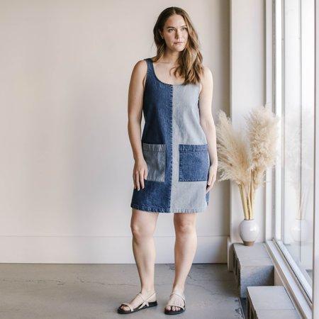 Carleen Half-Half Tone Midi Dress - Atlantic Blue