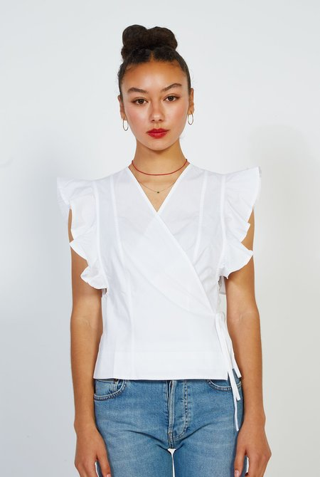 Ganni Poplin Blouse - Bright White