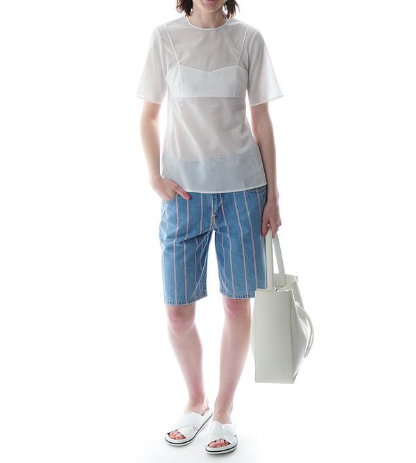 T By Alexander Wang Selvage Stripe Denim Baggy Long Shorts