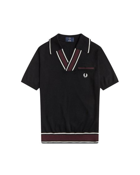 FRED PERRY Reissues Knit Open Neck Polo - Black/Burgundy