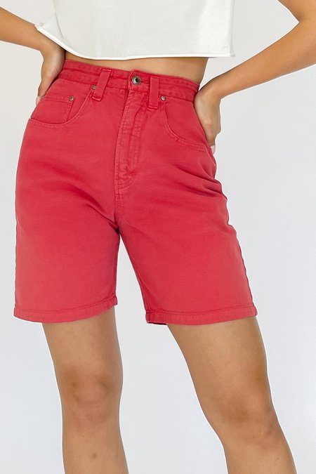 Vintage High Rise Denim Shorts - Berry