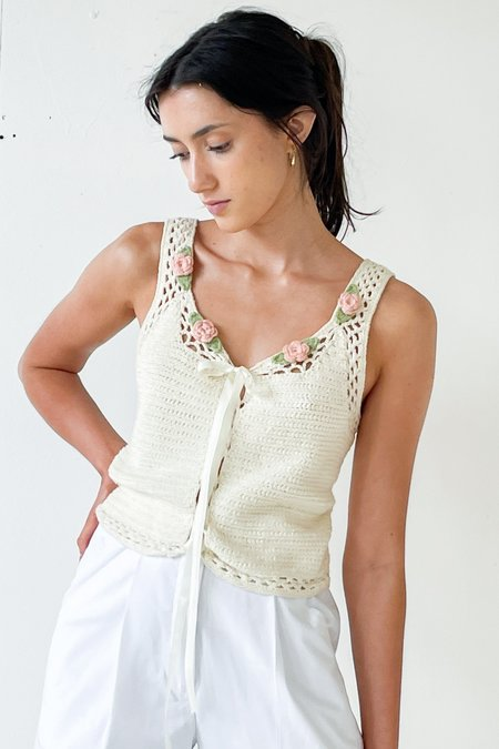 Vintage Floral Crochet Knit Tank - natural