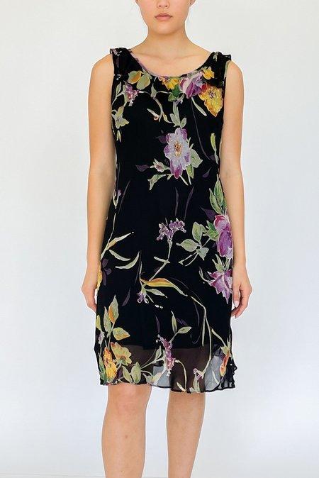 Vintage Chiffon Beaded Dress - Floral Print
