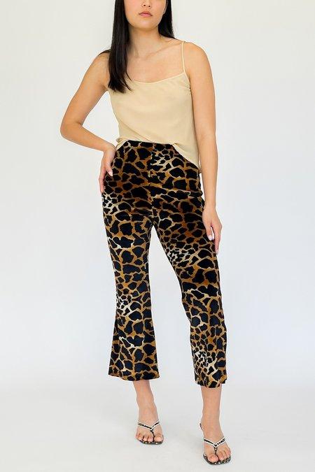 Vintage Velvet Flare Pants - Giraffe Print