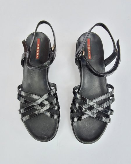 Vintage Prada Patent Strappy Sandals - Black