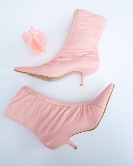 Vintage Ruched Taffy Boots - Pink