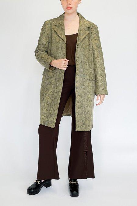 Vintage Shannon Evanhaus Snake Embossed Leather Jacket - Sage
