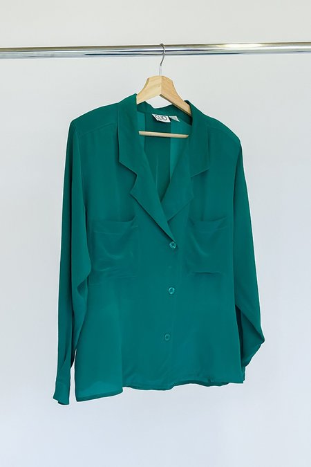 Vintage Double Breasted Silk Blouse - Teal