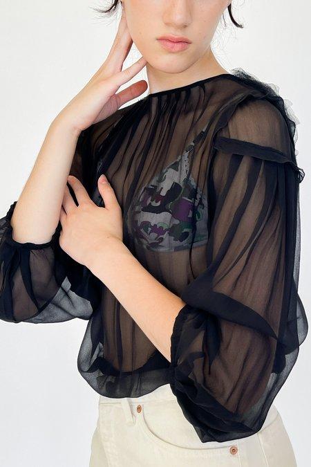 Vintage Valentino Silk Chiffon Pleated Blouse - Black