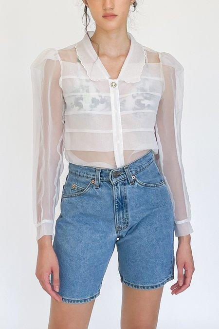 Vintage Sheer Organza Puff Sleeve Blouse - White