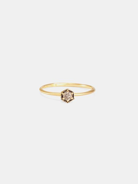 Satomi Kawakita 18ky brown diamond hexagon ring - Gold