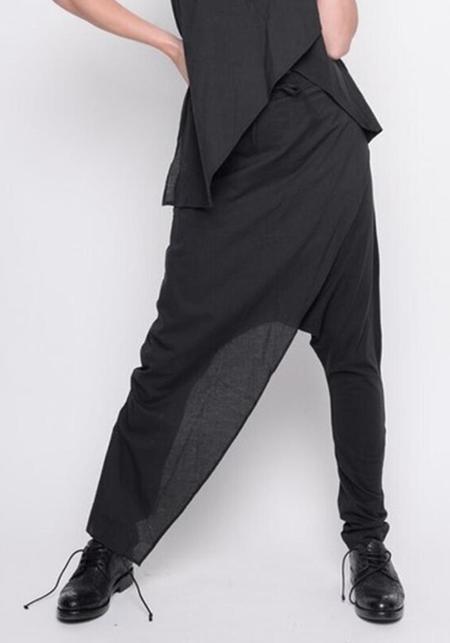 BLACK by K&M Asymmetric Front Panel Drop Seat Pants