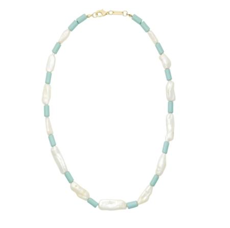 Machete Beaded Biwa Pearl Necklace - Light Blue