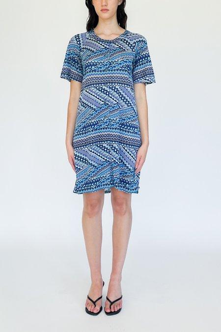 Vintage Zigzag Abstract Print Dress - blue
