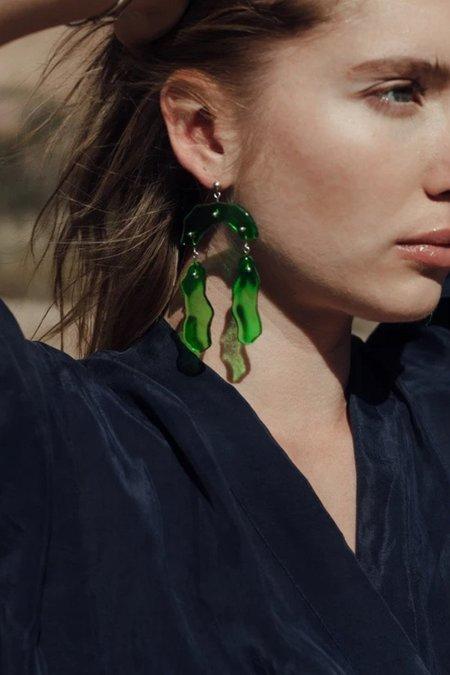 Cled Rock Dangling Earrings - Green Forest