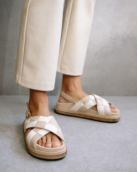 Alohas Marshmallow Scacchi Sandals - Stone Beige/Ivory