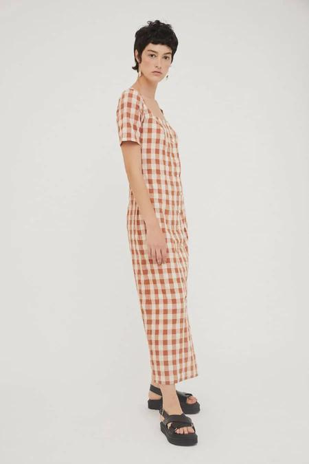Rita Row Maria Long Dress - Brown Check
