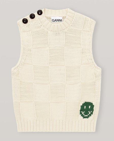 Ganni Cotton Rope Knit Vest - Brazilian Sand