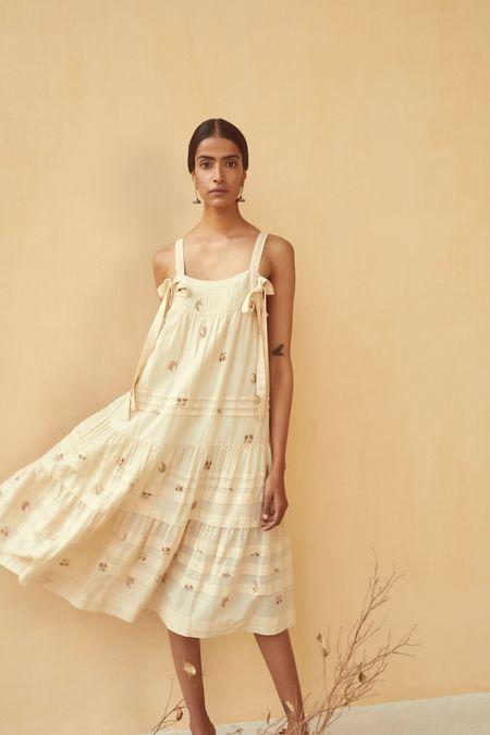 Kopal Pleat Dress - Vanilla