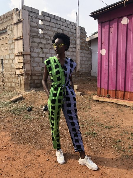 Osei-Duro Accra Jumpsuit - purple/green/Black