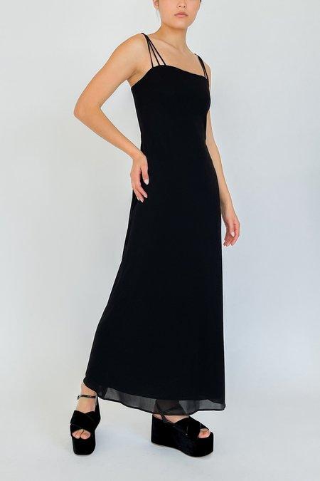 Vintage Mesh Layered Crisscross Dress - Black