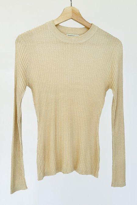 Vintage Ribbed Knit Silk Top - Ecru