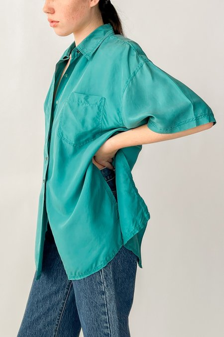 Vintage Silk Button Back Blouse - Teal