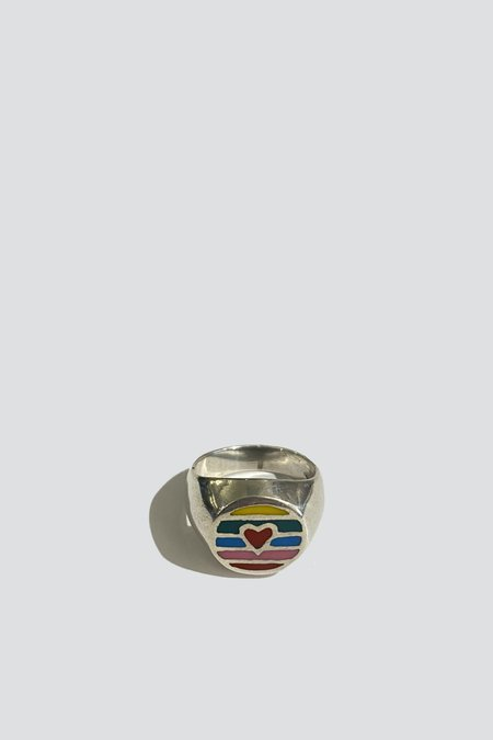 Vintage Rainbow Heart Ring -  Sterling Silver