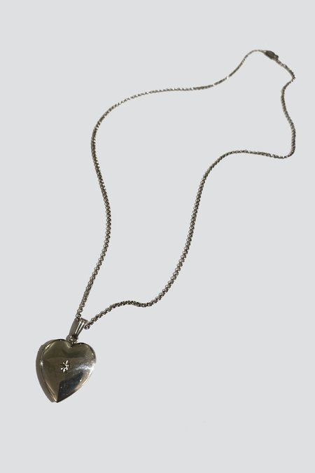 Vintage White Diamond Locket necklace - Sterling Silver