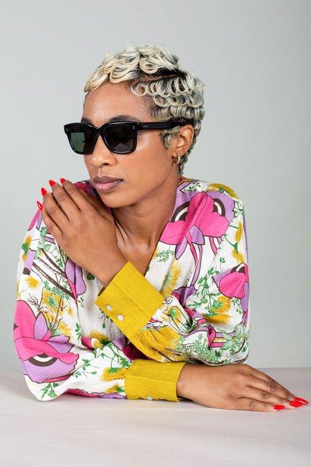 Raen Gilman Polarized Sunglasses - Crystal Black/Green Lenses
