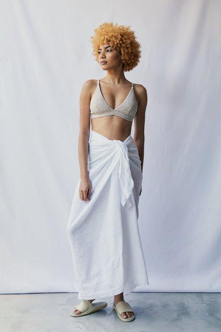 at Dawn. Gauze Sarong skirt - White
