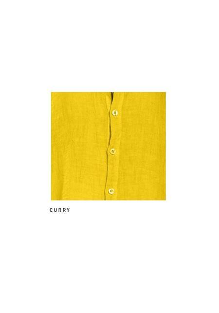 Join Clothes Linen Gauze Long Button Down Shirt Dress - Curry