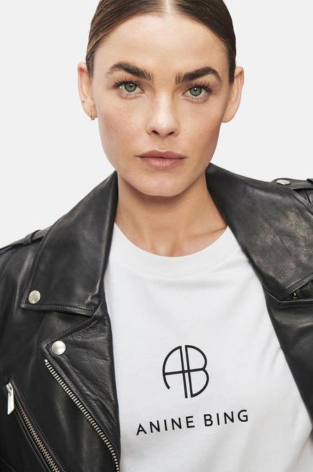 Anine Bing Hudson Tee - Monogram Optic White