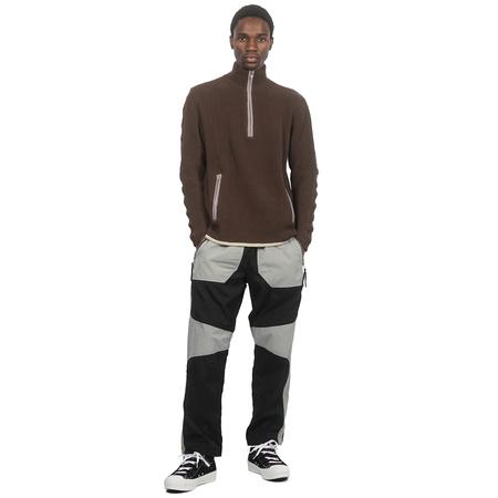 Arnar Mār Jōnsson Knitted Rib Mock Neck Sweater - Chocolate
