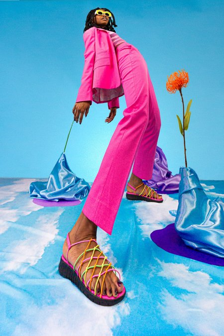 """""""INTENTIONALLY __________."""" Wednesday Sandals - Neon Combo"""