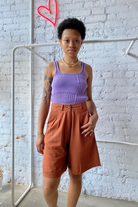 Pastiche Bermuda Linen Shorts - Maroon
